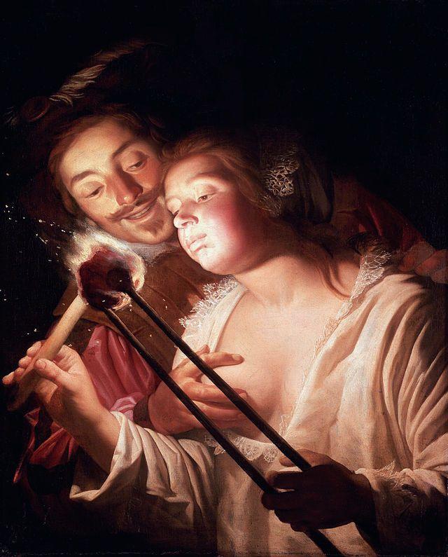 The soldier and the girl, by Gerard van Honthorst - Gerard van Honthorst