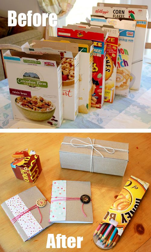 Some creative ideas for upcycling cereal boxes.
