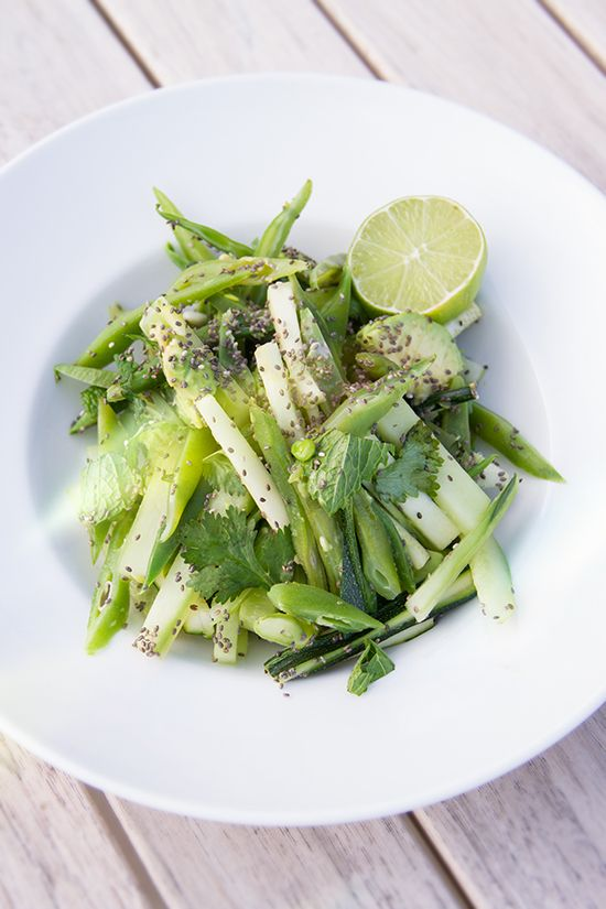 green bean, cucumber and mint salad with avocado and chia.