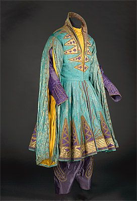 Léon Bakst - Costume for Shah Zeman in Shéhérazade - 1910–30s coat: silk brocade, satin and embroidery, lamé, metallic braid, cotton lining; trousers: silk satin, metallic braid, cotton lining