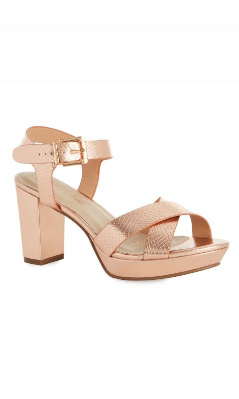 Shop Women's Plus Size Abbey Rose Gold Wide Fit Heel - Wide Fit Shoes - Collections | City Chic USA