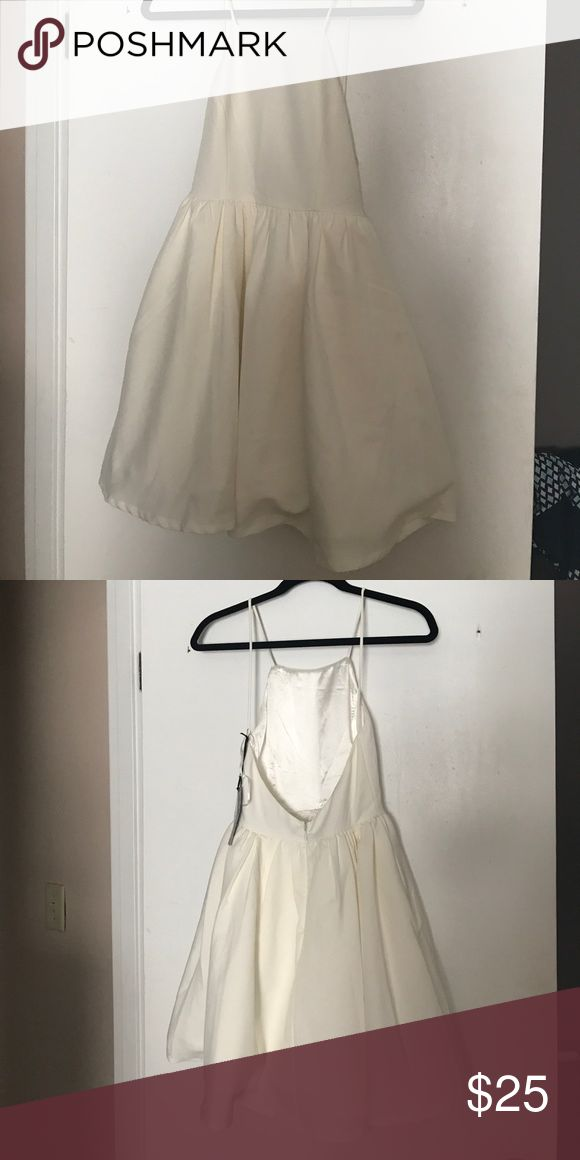 Backless simple cocktail dress Creamy white, backless, full skirt. Beautiful! Lulu's Dresses Backless
