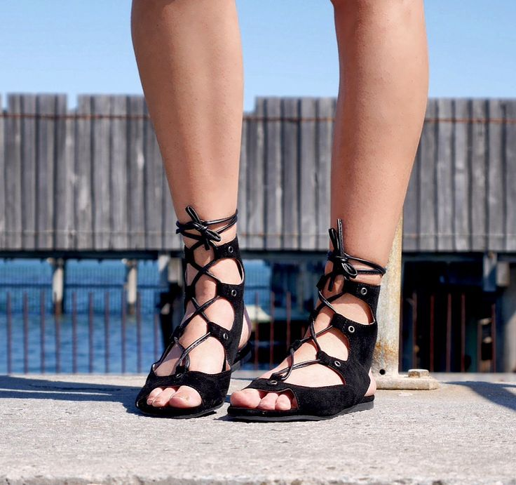 SHAY // suede lace up sandals.