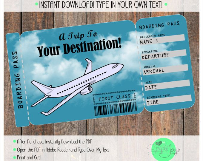 Printable Vacation Surprise Ticket Boarding Pass Customizable