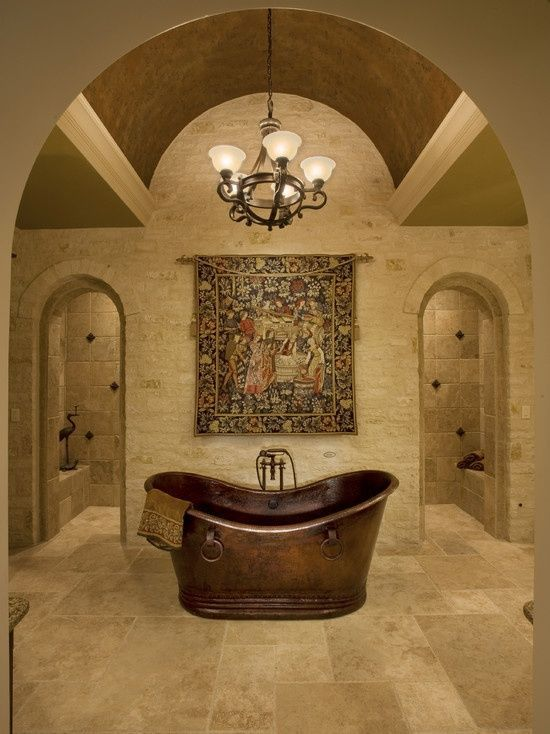 Mediterranean Master Bathroom With Pendant Light, Daltile Baja Cream (Split  Face) T720 Travertine