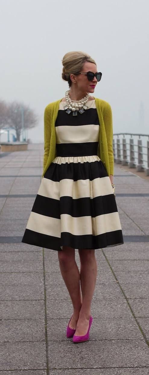 Gorgeous Kate Spade Striped Dress  #YellowGreen #Cardigan #BlackWhite #Stripped #Dress