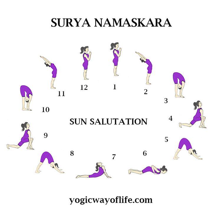 Sun Salutation or Surya Namaskara  Set of 12 Poses for a energetic morning Yoga Session