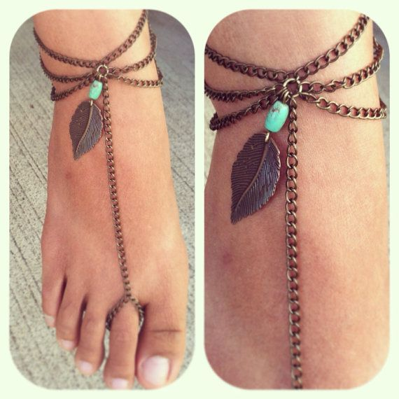 Soul: Turquoise Metal Feather Toe Ring Chain Anklet. Boho Slave Anklet on Etsy, Visit www.etsy.com/shop/ARDENTpeople for more jewelries. Follow on Instagram @ARDENTpeople