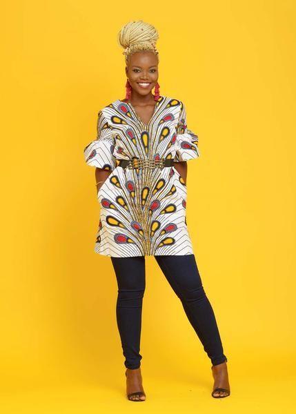 Eya Ruffle Sleeves Shift Modern African Dress (White Peacock Feathers)