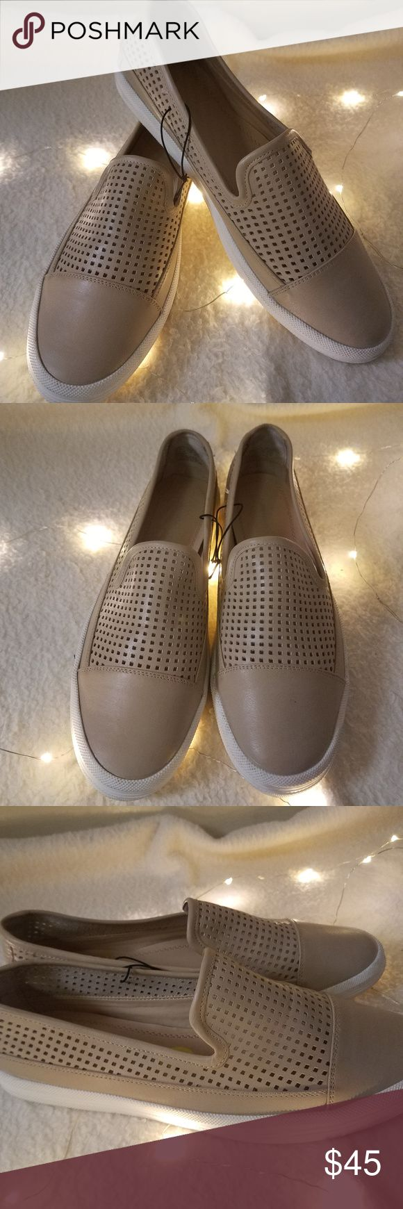 """Calvin Klein Jeans Minerva Slip On Sneakers 9 NWOT Calvin Klein Jeans Minerva Slip On Leather Sneakers Flats Women Beige 9 BrandNew WithOut Tag   Beautiful perforated-design slip on sneakers/flats  Measurements:  Length: 10.75"""" in Width: 3.5"""" in  Thank you for looking!  R-S07 Calvin Klein Jeans Shoes Flats & Loafers"""