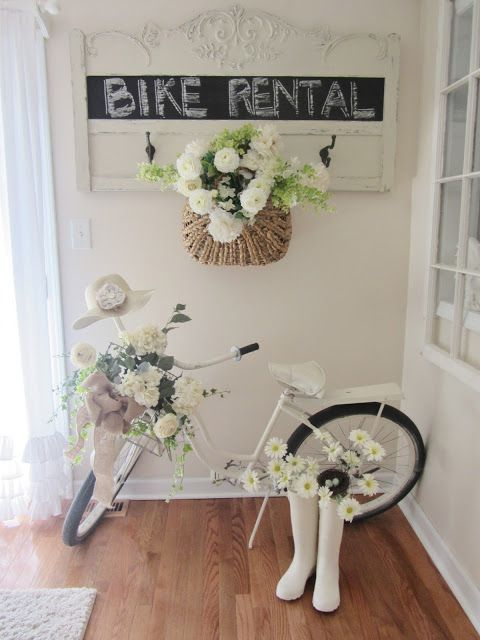 Cute idea for old bike, but I'll do this outside. Junk Chic Cottage has lots of cute ideas but is way too cluttered.