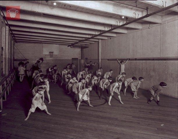 Boys Exercise In The Gym At The Worcester Boys Club, C -4008