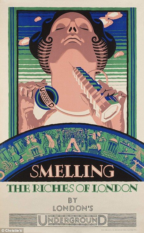 'Smelling the Riches of London' (left), a poster by Frederick Charles Herrick in 1927