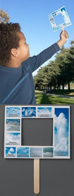 Here's a great way to teach about cloud identification and classification! Each child makes their own Nature-Watch Weather Window - a hand-held frame with a variety of cloud types classified by altitude. Then, head outside and match real clouds to the photos on the Weather Window. Identify the cloud type and discuss what type of weather might follow as a result.