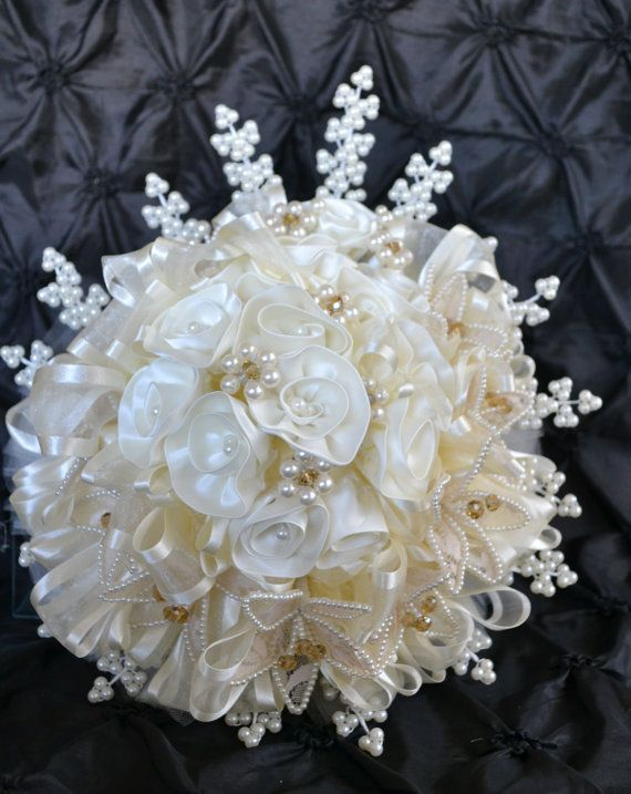 Wedding Bouquet Cream Satin Flowers with Pearls and by CasaAraiza, $90.00