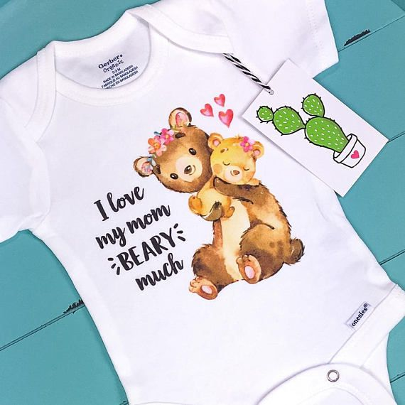 I Love My Mom Beary Much, Mommy Onesie, Unique Baby Gift, Baby Girl Clothes, Bear, Mom And Me Matching, Mothers Day Baby, Cute Baby Onesies