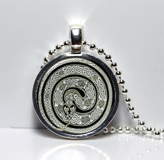Celtic, Irish, Artwork, Handmade, Celtic Snake, Pendant, Necklace, Unisex, St Pats Day, Under 15,USA Made, Mystical, Spiritual, Re-Birth on Etsy, $13.95