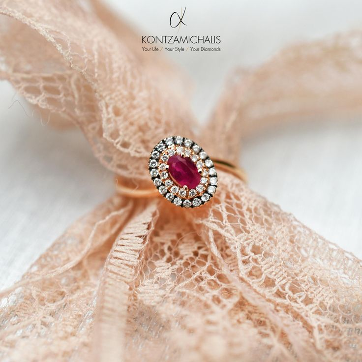 A characteristic member of our #bridalCollection Red ruby and white diamonds on a glorious twisted ring. We transform the classic into modern. #KontzamichalisJewellery