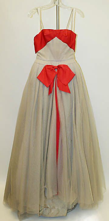 Dress, Evening.  Mainbocher (American, 1890–1976).  Date: spring/summer 1949. Culture: American. Medium: nylon, rayon, cotton. Dimensions: Length (a): 55 in. (139.7 cm). Length at CB (b): 39 in. (99.1 cm).