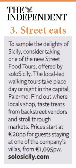 The Independent's travel section speaks about our new and exclusive #Palermo #StreetFood and #Markets tour!