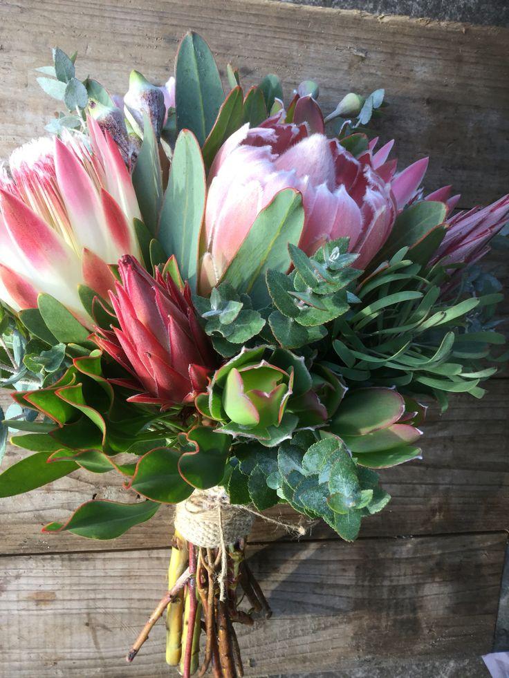 Gorgeous Protea Wedding Bouquet Wild Flower Weddings at Peninsula Wild Flower