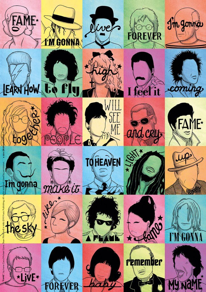 illustrated print of irene cara's fame [draw me a song project] x nour tohmé
