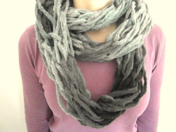 arm knitted scarf in black  grey / infinity by KleopatrasCreations