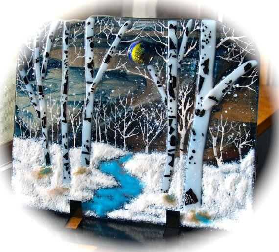 Winter Night Dichroic Moon Fused Glass OOAK by JudiHartmanGLASSART, $125.00