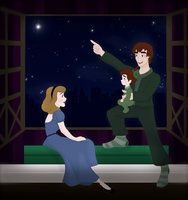 Peter and Wendy telling their little boy, Charlie, a story about Neverland. Charlie is wearing Peter's old hat. <3
