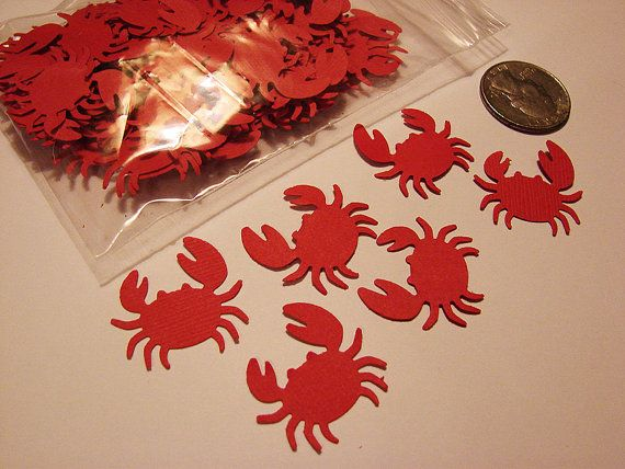 100 Martha Stewart Red Crab Paper Punches, Die Cut, Embellishment, Confetti.
