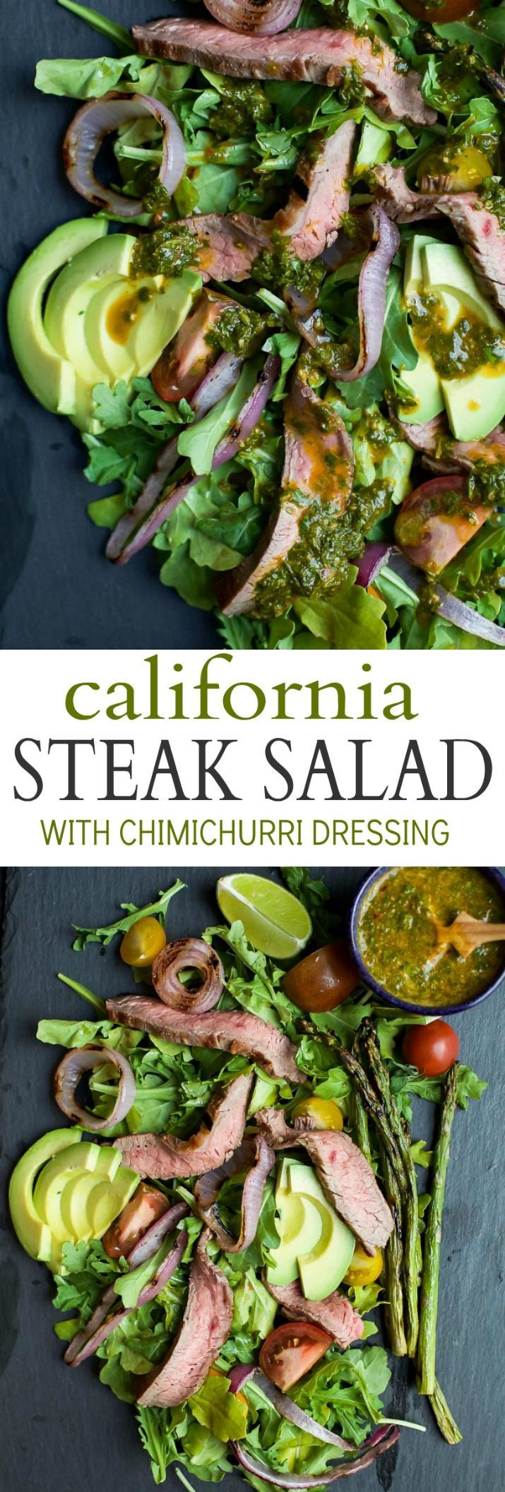 A paleo California Steak Salad filled with grilled onions, arugula, avocado, asparagus, charred Steak and covered in zesty Chimichurri Dressing.…