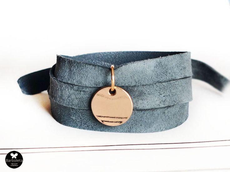 leather bracelet, suede, grey, gold