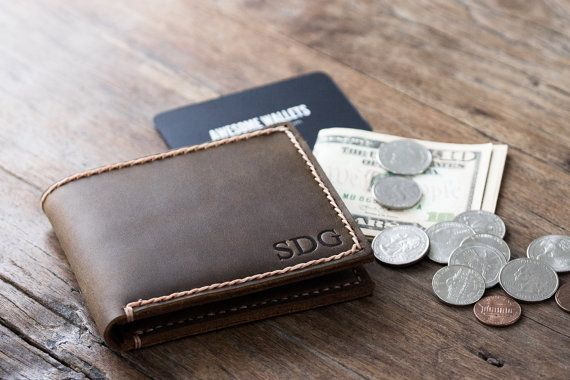 Coin Wallet PERSONALIZED Leather Men's Coin Pocket by JooJoobs