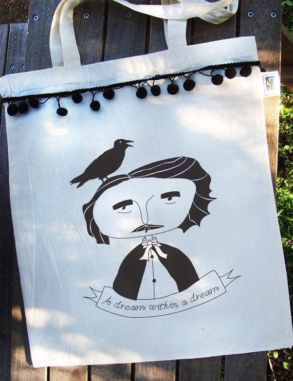 Edgar Allan Poe tote bag Organic Cotton Fairtrade  by RooftopCo #EtsyGifts #fairtrade #organiccotton #etsy #etsygreekstreetteam #ethicalfashion #totebags #totes #organicbags #pompom #poe #edgarallanpoe