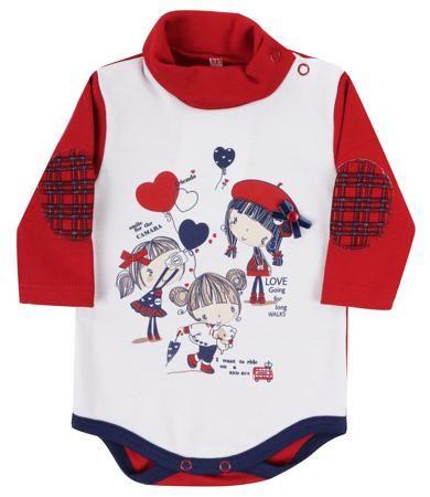 """Soni Kids Soni Kids, Боди-водолазка """"Путешествие в Лондон"""" (белый/красный)  — 560р."""