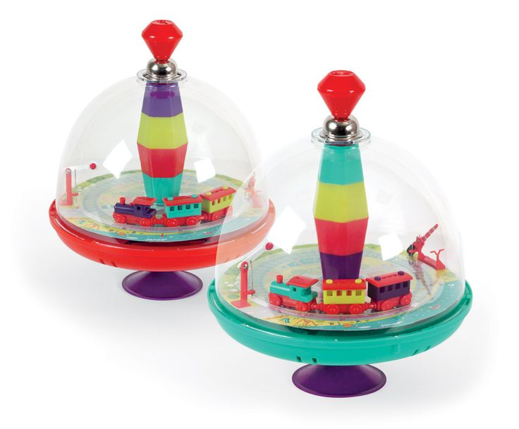 Janod toot toot spinning tops are a favourite with children. This one has a train inside. AGE 3+ #toys2learn #Janod #preeschool #fun #spinningtop