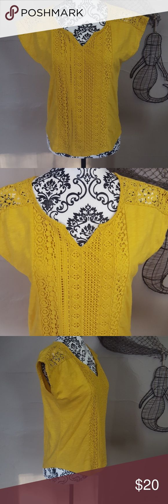 Mustard Boho Crochet Tee Top New without tags! Size Medium. The top is a mustard color which is one of the new fall colors for 2017! Crochet detailing down the front and on the sleeves. Light, cotton material. So gorgeous! 89th & Madison Tops Tees - Short Sleeve