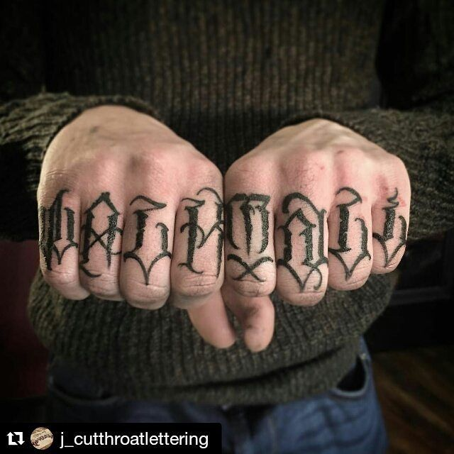 aa2a88dd0 ✖ @j_cutthroatlettering ✖ ・・・ Walk tall I'll upload some other angles so  you can see the 1st and last finger a little better #uktattoo #… | Tattoo  idea ...