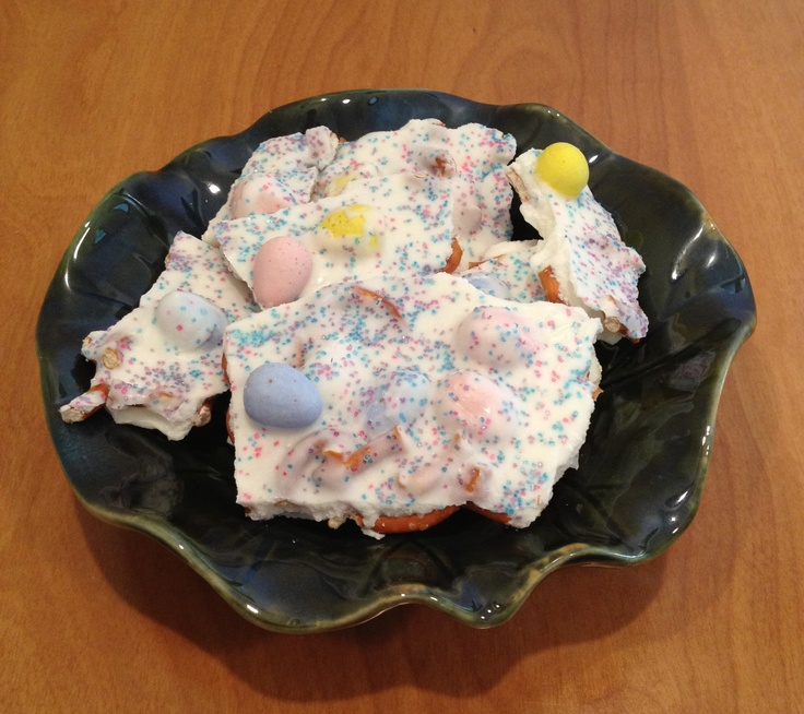 Bark is our new favorite - Easy, fun for the kids to help and so many options for holidays, colors & themes.   We love this Easter bark in my new Lotus Leaf Bowls!  www.biltmoreinspirations.com/Angela