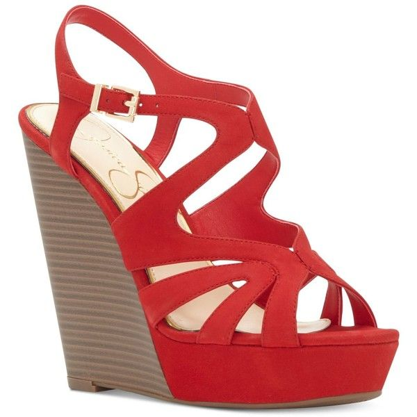 Jessica Simpson Brissah Strappy Platform Wedge Sandals ($62) ❤ liked on Polyvore featuring shoes, sandals, lipstick, platform wedge shoes, wedge sandals, wedges shoes, red strappy sandals and strappy sandals