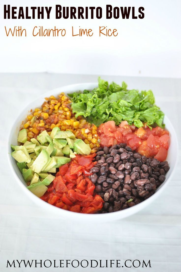 DIY Healthy Burrito Bowl with Cilantro Lime Rice. Just like the restaurants, but with less salt and no additives. This healthy recipe makes a weeks worth of meals.  Vegan and gluten free.