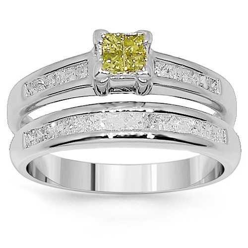 This Elegant Bridal Ring Set Is Crafted In Highly Polished 14K White Gold The Engagement
