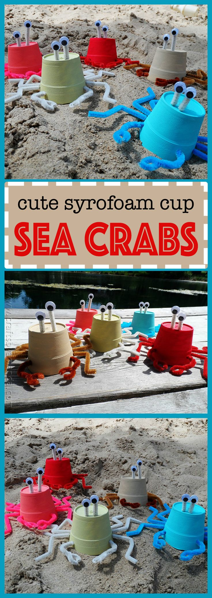 Kids love making beach themed crafts, so these styrofoam cup crabs are  the perfect craft for a hot, hot summer day!