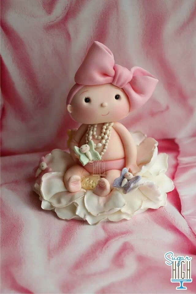 Cake Toppers Baby Girl : Baby girl cake topper Cold Porcelain & Fondant Figures ...