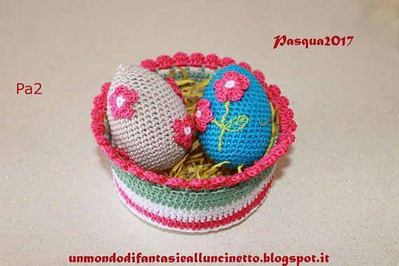 Cestini e uova all'uncinetto Pasqua Crochet