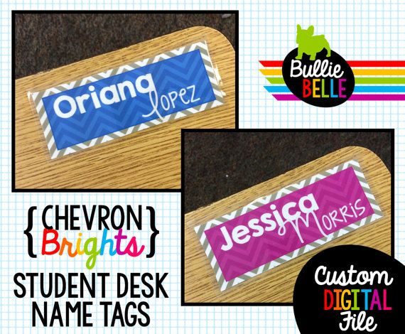Chevron Student Desk Name Tags  Student Nameplates  by BullieBelle