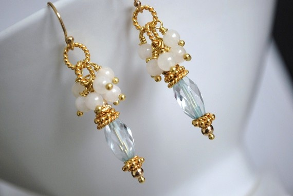 Blue Topaz White Jade and Gold Vermeil by ChaninBijoux on Etsy, $72.00