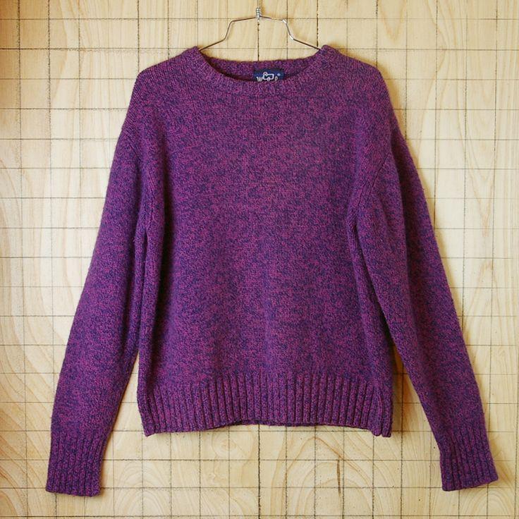 古着ウールリッチイギリス製ラウンドネックパープル(紫)ウールニットセーター【Woolroch】