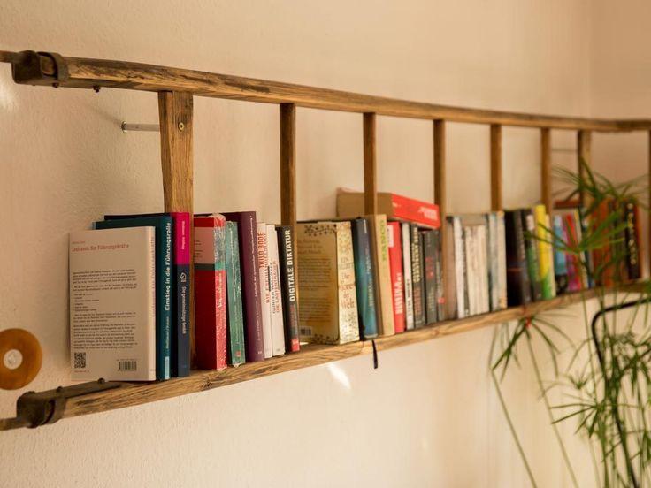 Bucherregal Regal Aus Alter Leiter Made By Myself Bookshelves Diy Shelves Home Diy
