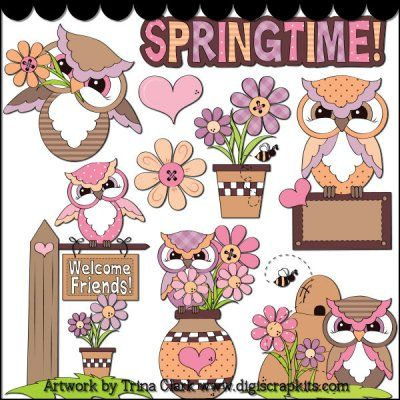 Spring Hoots 1 Clip Art : Digital Scrapbook Kits, Cute Clip Art, Cutting Files, Trina Clark, Instant downloads, commercial use allowed, great prices.